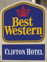 The pub sign. The Clifton Hotel, Folkestone, Kent