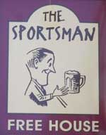 The pub sign. The Sportsman, Huddersfield, West Yorkshire