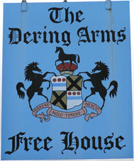 The pub sign. The Dering Arms, Pluckley, Kent