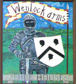 The pub sign. The Wenlock Arms, Hoxton, Central London