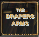 The pub sign. The Drapers Arms, Peterborough, Cambridgeshire