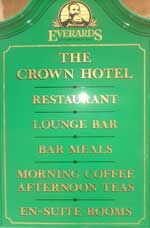 The pub sign. The Crown Hotel, Uppingham, Rutland
