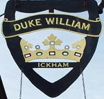 The pub sign. The Duke William, Ickham, Kent