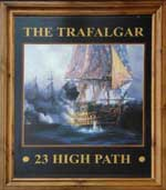 The pub sign. The Trafalgar, South Wimbledon, Greater London