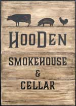 The pub sign. Hooden Smokehouse & Cellar (formerly Hooden on the Hill), Willesborough, Kent