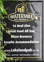 The pub sign. Watermill Inn, Ings (Nr. Staveley), Cumbria