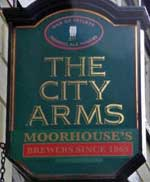 The pub sign. The City Arms, Manchester, Greater Manchester