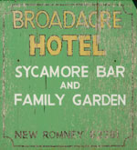 The pub sign. Broadacre Hotel, New Romney, Kent