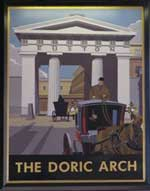 The pub sign. The Doric Arch, Euston, Central London