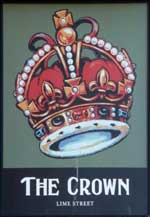 The pub sign. Crown Hotel, Liverpool, Merseyside