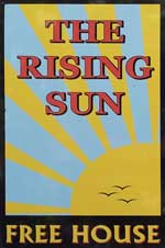 The pub sign. The Rising Sun, Kingsdown, Kent