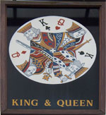 The pub sign. King & Queen, East Malling, Kent