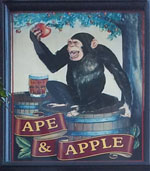 The pub sign. The Ape & Apple, Manchester, Greater Manchester