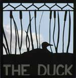 The pub sign. The Duck, Pett Bottom, Kent