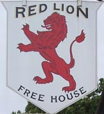 The pub sign. Red Lion, Badlesmere, Kent