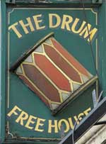The pub sign. The Drum, Leyton, Greater London