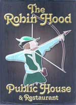 The pub sign. Robin Hood, Blue Bell Hill, Kent
