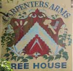 The pub sign. Carpenters Arms, Coldred, Kent