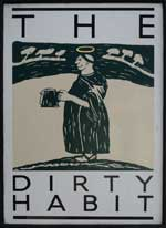 The pub sign. The Dirty Habit, Hollingbourne, Kent