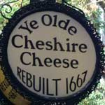 The pub sign. Ye Olde Cheshire Cheese, Fleet Street, Central London
