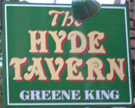 The pub sign. The Hyde Tavern, Winchester, Hampshire