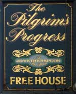 The pub sign. The Pilgrim's Progress, Bedford, Bedfordshire