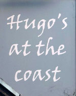 The pub sign. Hugo's at the Coast, Tynemouth, Tyne and Wear