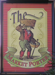 The pub sign. The Market Porter, Southwark, Central London