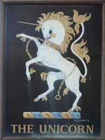The pub sign. The Unicorn, Marden, Kent