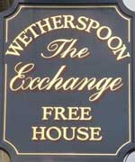 The pub sign. The Exchange, Banbury, Oxfordshire