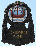 The pub sign. Fordwich Arms, Fordwich, Kent