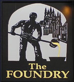 The pub sign. The Foundry Brew Pub, Canterbury, Kent