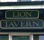 The pub sign. Lion Tavern, Liverpool, Merseyside