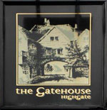 The pub sign. The Gatehouse, Highgate, Greater London