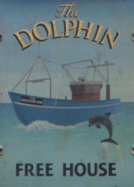 The pub sign. The Dolphin, Hastings, East Sussex