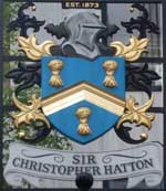 The pub sign. Sir Christopher Hatton, Chancery Lane, Central London