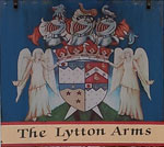 The pub sign. The Lytton Arms, Old Knebworth, Hertfordshire