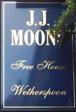 The pub sign. J.J. Moon's, Hornchurch, Greater London