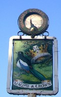 The pub sign. Magpie & Crown, Brentford, Greater London