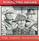 The pub sign. The Three Mariners, Oare, Kent