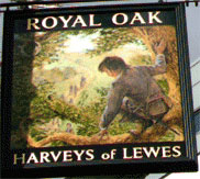 The pub sign. Royal Oak, Borough, Central London