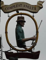 The pub sign. Compleat Angler, Norwich, Norfolk