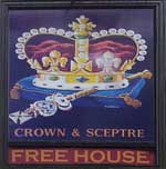 The pub sign. The Crown & Sceptre, Bridens Camp, Hertfordshire