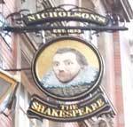 The pub sign. The Shakespeare, Birmingham, West Midlands