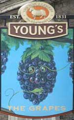 The pub sign. The Grapes, Wandsworth, Greater London