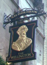 The pub sign. The Wellington, Covent Garden, Central London