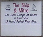 The pub sign. Ship & Mitre, Liverpool, Merseyside