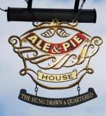 The pub sign. The Hung Drawn & Quartered, City, Central London