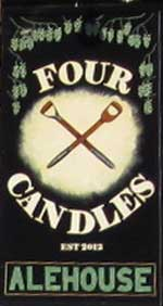 The pub sign. The Four Candles Alehouse, St Peter's, Kent