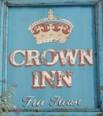 The pub sign. Crown Inn, Montgomery, Powys